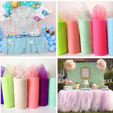 DIY colorful 6 inch 25 yards 100 tulle family party birthday wedding table skirt decoration yarn ball tutu roll