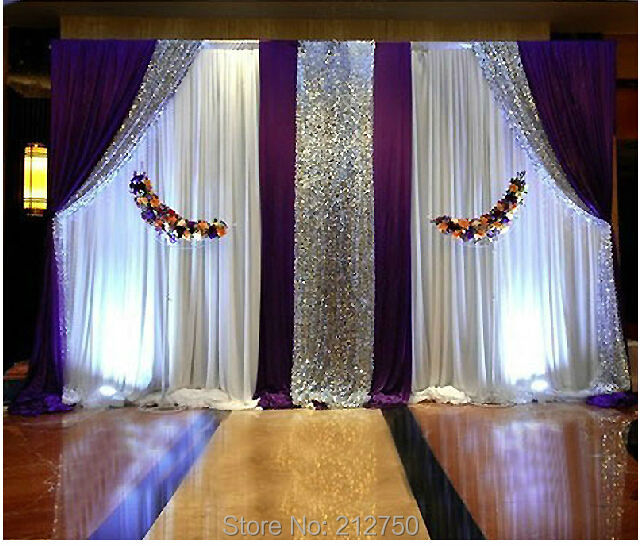 3m Height *6m Wide Purple White Paillettes Wedding Ceremony Decorations  Sign Table Backdrop Curtains(