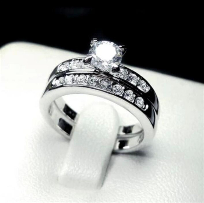 Fashion10kt White Gold Filled Wedding Ring Set For Women Six Claw Simulated Diamond CZ Cocktail Band