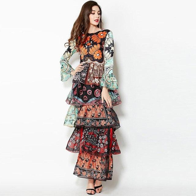 6e52848b9 Verão Desfile de Moda Maxi Vestido Longo Mulheres Alargamento Da Luva  Floral Bohemian Cascading Ruffles Corpo