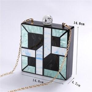 Image 5 - Новинка 2020, акриловые сумочки Unqique в клетку с геометрическим рисунком, повседневные клатчи, женская сумка мессенджер, женские свадебные вечерние сумочки
