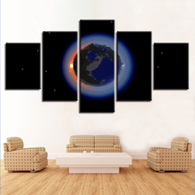 Living Room Home Decor Modern Prints Wall Art 5 Pieces Earth Planets Abstract Canvas Painting Posters Modular Pictures Framework