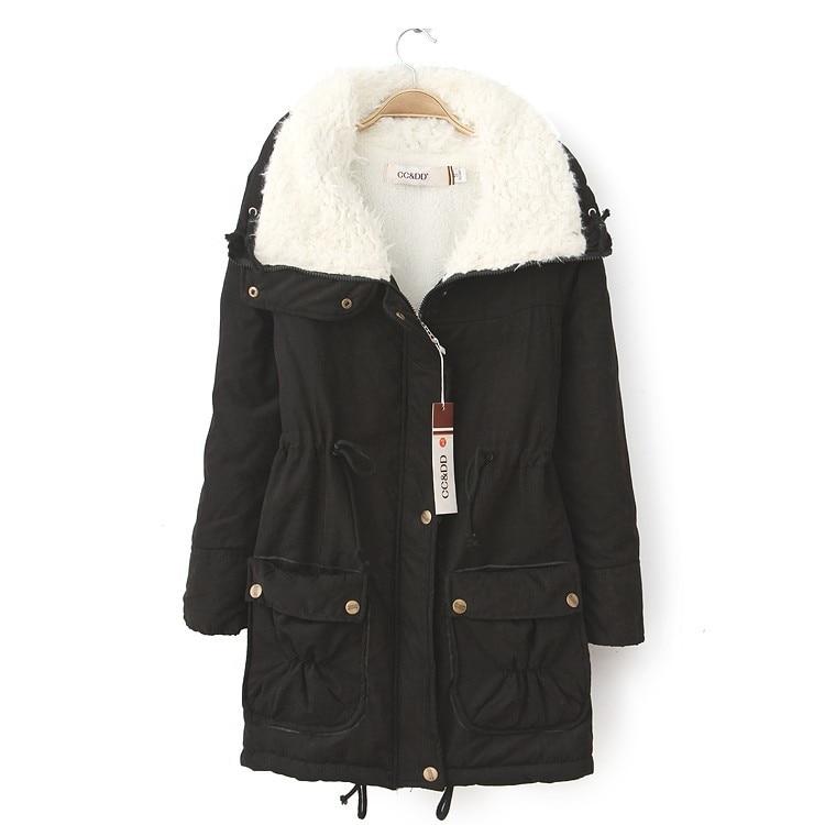 Medium long Cotton Jacket 2016 Womens Fashion Large Turn down Collar Long Sleeve Cotton padded Jacket