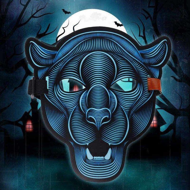 2018 Voice Reactive LED Rave Mask Dance Bar Halloween Scary Costumes Props Cosplay Animal Tiger Fox