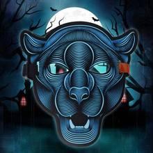 2018 голос реактивной светодио дный рейв маска Танец Бар Хэллоуин страшно детали костюма Косплэй животных тигра лисьей головы вечерние Полный Маски