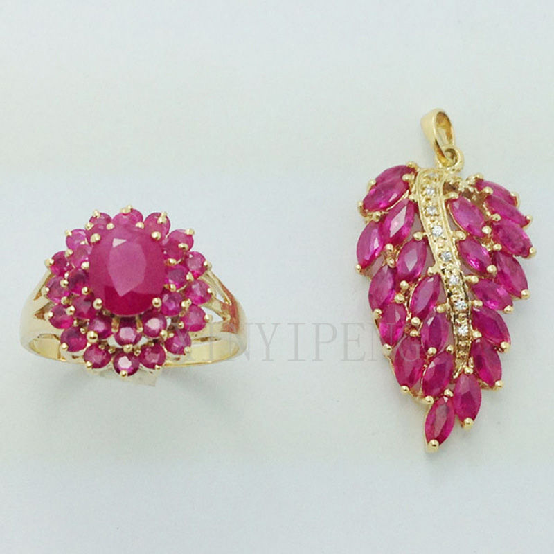 Xin yi peng 18 k yellow gold inlaid natural ruby suit, women ring pendants, fashion, the engagement wedding gift