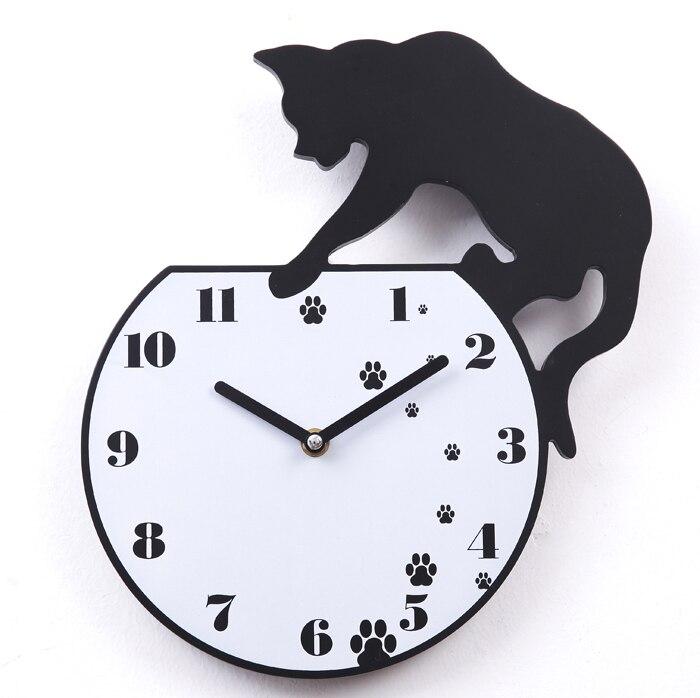 A021 Free Shipping Wall Clock Fun Cat Quartz Times Hours