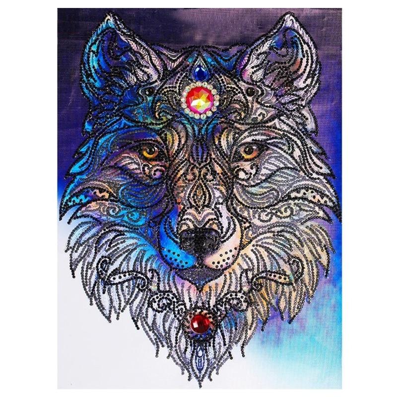 YHYS spécial en forme de diamant broderie Animal loup mosaïque image de strass bricolage diamant peinture point de croix décor à la maison