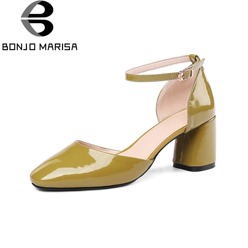 BONJOMARISA New women's Patent Leather Square High Heels Ankle Strap Solid Shoes Woman Casual Summer Sandals Big Size 33-43 lapolaka new women s genuine leather square med heels ankle strap solid shoes woman casual summer sandals big size 33 40
