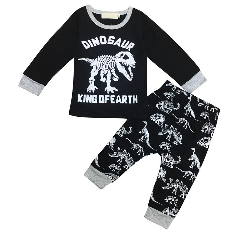 2017 Cool Baby Boy Clothes Set Kids Cartoon Dinosaur Printed Casual Home Sleepwear Toddler Top Pants Clothing