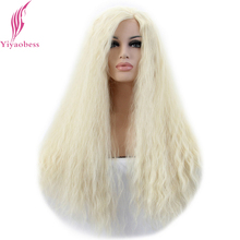 Yiyaobess Afro Kinky Curly Lace Front Wig For White Women Heat Resistant Synthetic U Part Light Blonde Long Lolita Wigs color 1b afro kinky curly synthetic lace front wig curly cheap long full head wigs for africa black women factory price