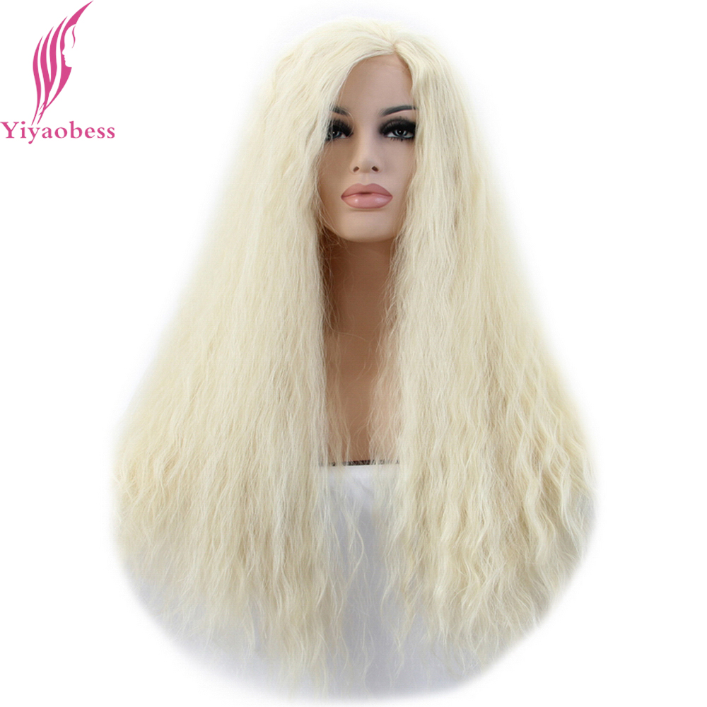 Yiyaobess Afro Kinky Curly Lace Front Wig For White Women Heat Resistant Synthetic U Part Light Blonde Long Wigs Free Shipping