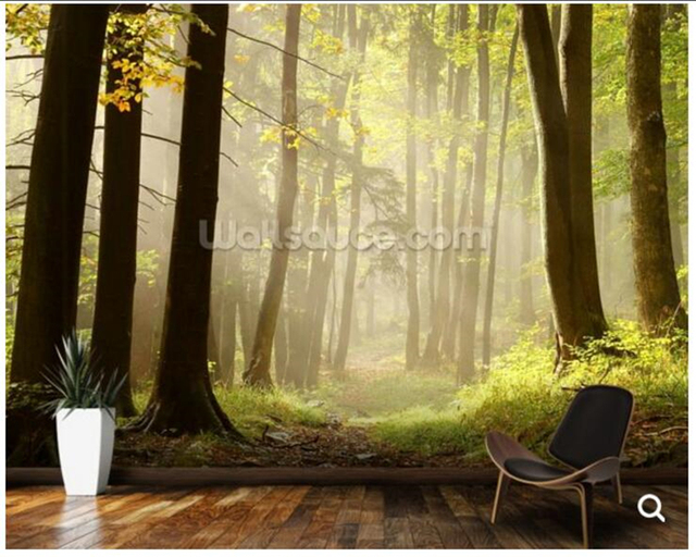 Custom forest wallpaper,Forest Pathway,natural mural for living ...