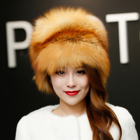 Autumn and winter ladies hat headdress leather fur cap Russian girl hat 2017 new fashion fur hat fox fur