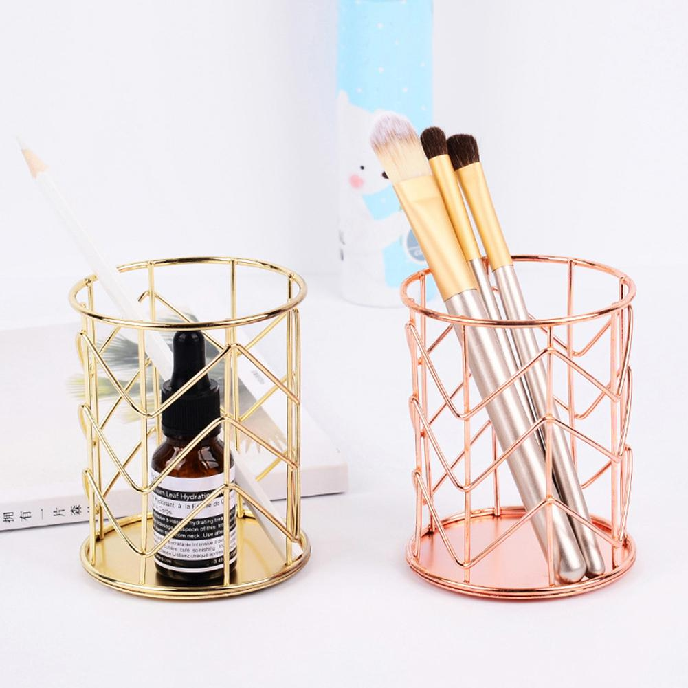 Rose Gold Wire Net Pencil Holder Round Iron Mesh Pen Cosmetic - Schreibtisch Organizer Gold