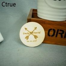 5cm Rustic Save the Date Wood Log Personalised Arrow Wedding Invitation Custom Favor Tags flora garland