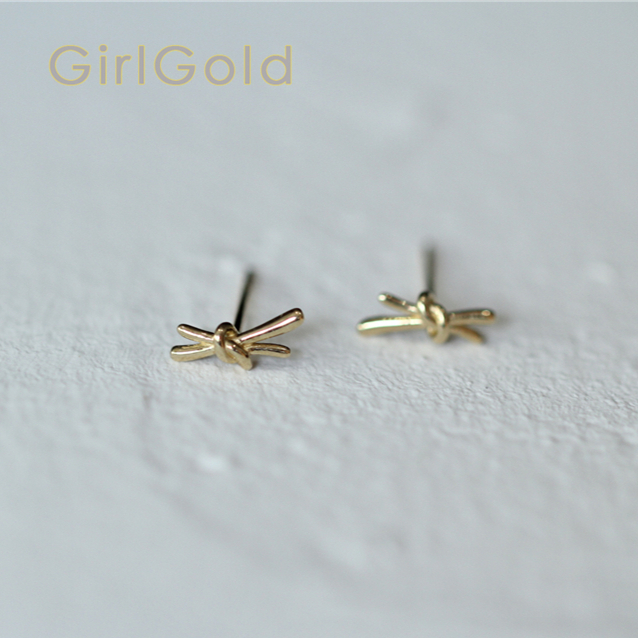9K solid gold Gift knots  blossoms  stud earring Mini dainty women minimal simple style gift bridesmaid9K solid gold Gift knots  blossoms  stud earring Mini dainty women minimal simple style gift bridesmaid