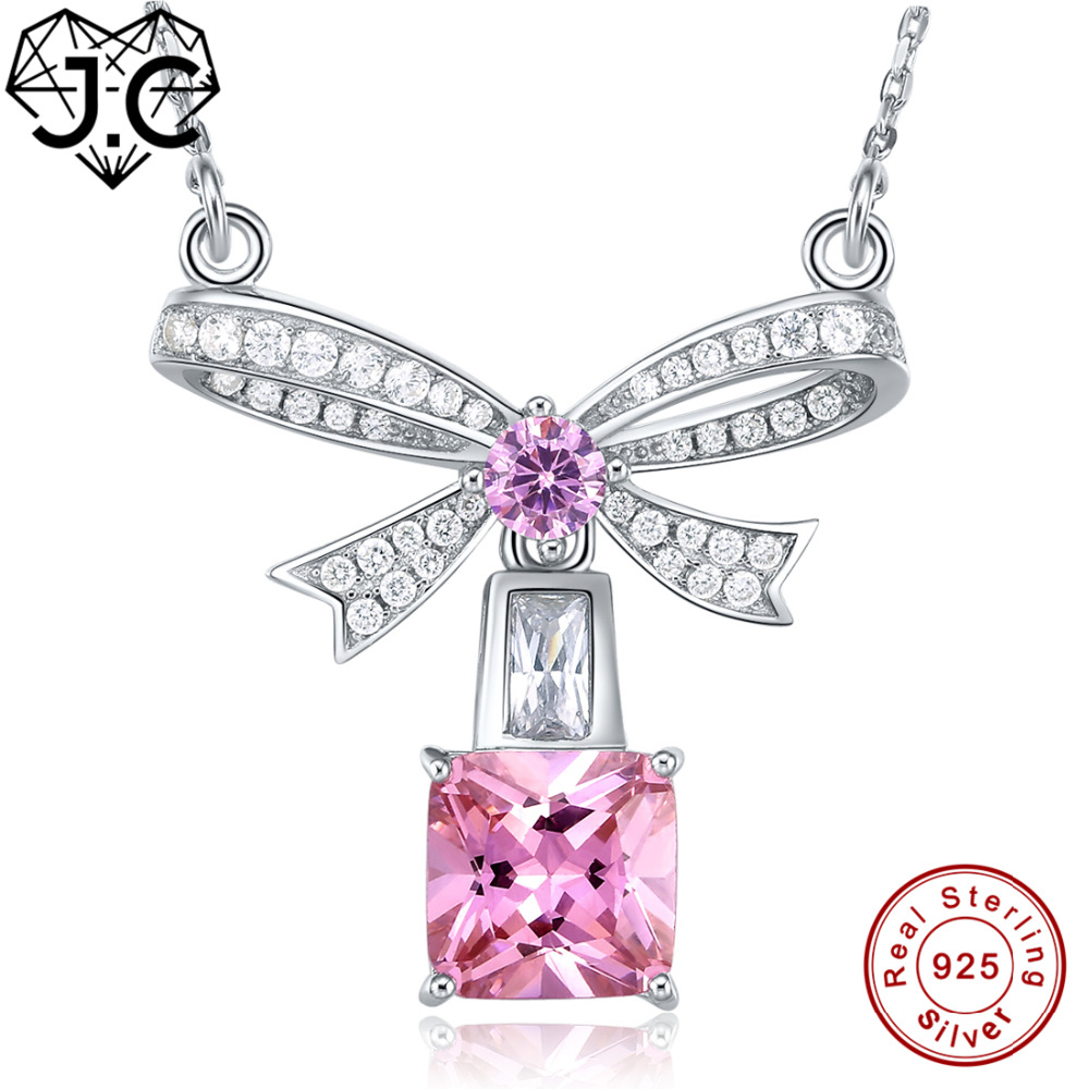 J.C Women/Girl Party Dating Brilliant Necklace Ruby & Pink Topaz White Topaz Solid 925 Sterling Silver Necklace Fine Jewelry