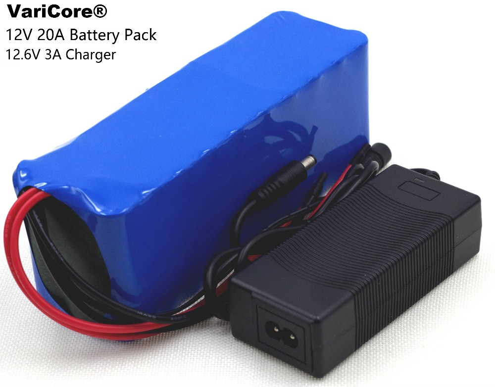 12 V 20000mAh 18650 lithium battery miner's lamp Discharge 20A 240W xenon lamp Battery pack with PCB + 12.6V Polymer Charger
