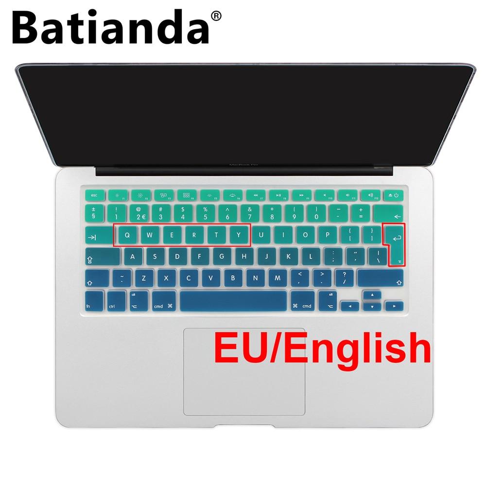 EU UK Introduceți aspectul în limba engleză Gradient Colours Silicon Tastatura pentru piele pentru Macbook Air Pro Retina 13 15 17