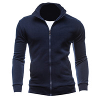 Autumn Cardigan Solid Plain Men Hoodies Basic Style Long Sleeve Full Zip Up Casual Tracksuit Hoody