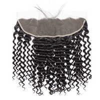 Vipbeauty マレーシアディープウェーブ 13 × 4 耳に耳レースフロント閉鎖レミーの毛 10-20 インチナチュラル色