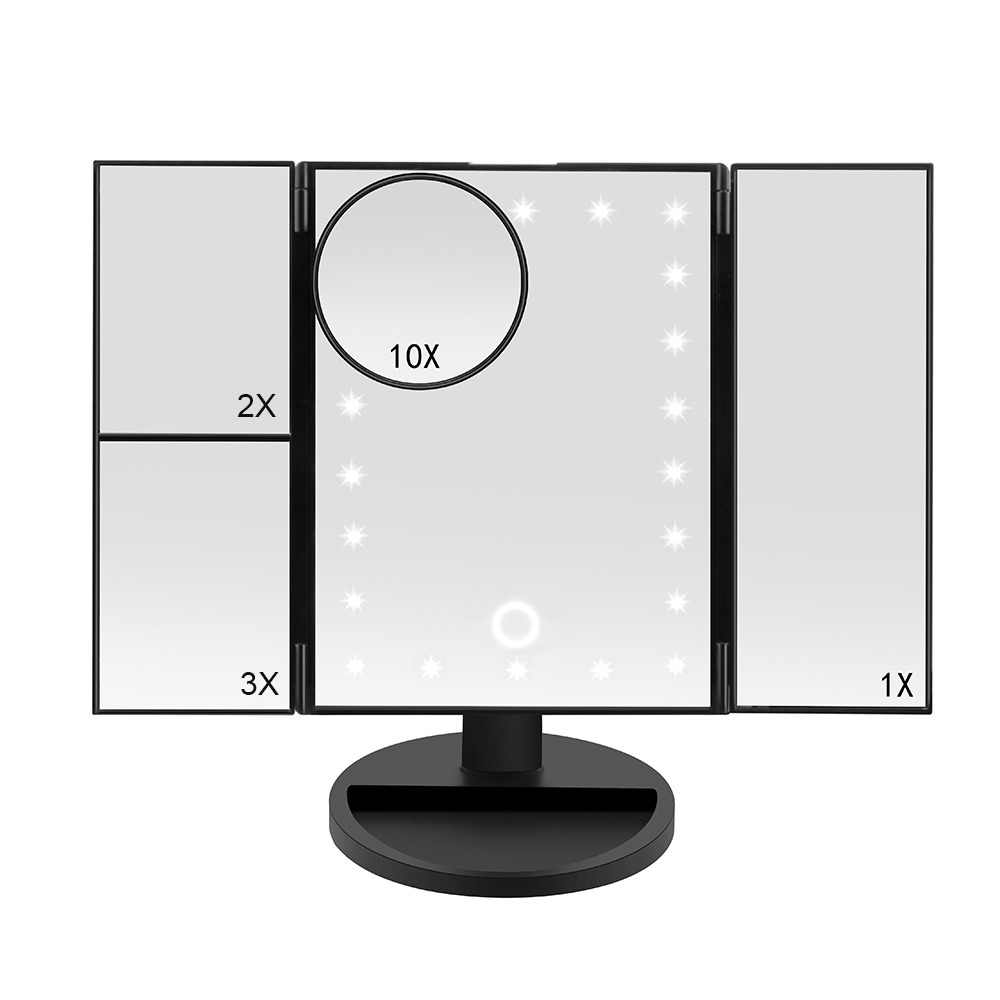 NEW Makeup Mirror LED Touch Screen 22 LEDs 1X/2X/3X/10X Magnifying Mirrors 3 Folding Adjustable Mirror Table Desktop Makeup