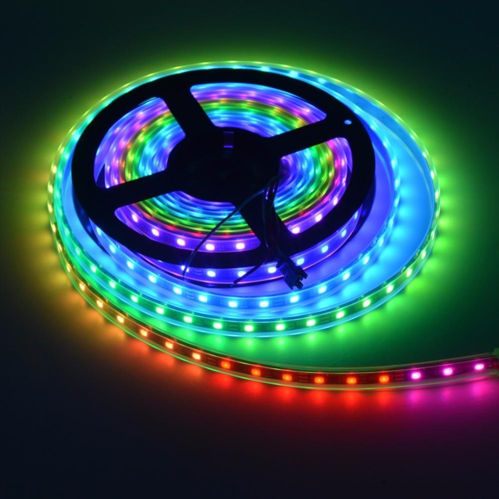 5mete Addressable Smart pixel LED strip built-in IC WS2812B 30/60/144 LEDs DC5V Waterproof Digital RGB LED Strip light IP30 IP65 addressable 3d smart pixel ball dc24v