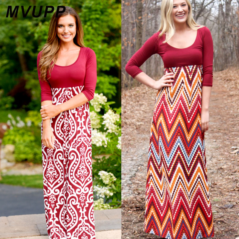 MVUPP mother daughter dresses Long sleeve Claret Maxi Dress mommy and me  casual vantage outfit baby girl and me family look set 16c9efbaf4