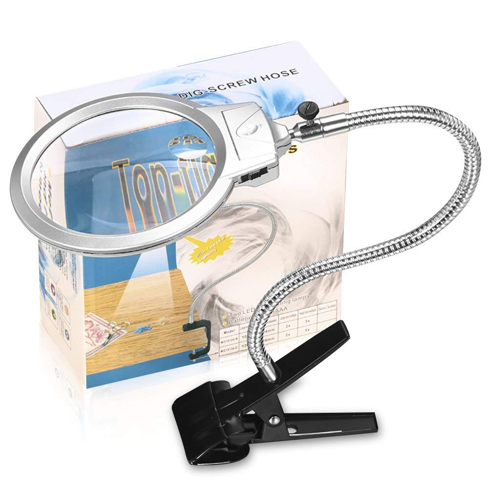360 Degrees Adjustable Illuminated Folding Magnifying Lamp 2 X 5X Lens For Reading And Close Work Clip On Magnifier Glass 360 degrees