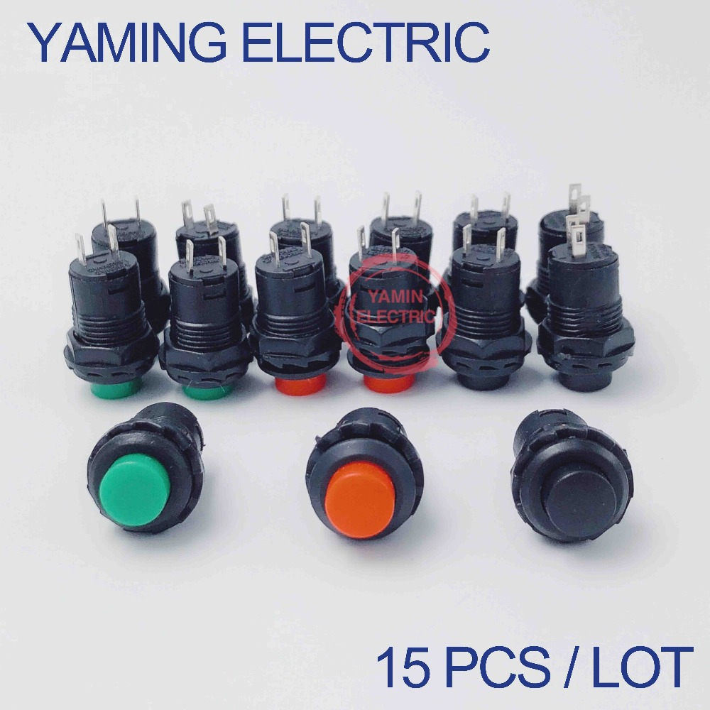 15pcslot Mini 12mm Maintained Self-locking Plastic Push button Switch Latching Touch 2 pins RedGreenBlack 1.5A 250VAC