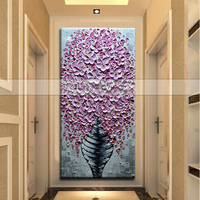 Hand Painted Knife Pink Flower Oil Painting On Canvas Large 3D Paintings For Living Room Modern Abstract Wall Art Pictures