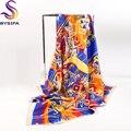 Marca Sarja de Seda Pura Lenços Quadrados Acessórios de Moda Cadeia de Bola Padrão Europa América Feminino Lenço De Seda Xale 90*90 cm