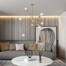 Candelabro de latón cepillado sputnik, accesorios de iluminación LED para el hogar, lámparas de techo de metal modernas, lustre de lámpara colgante postmoderna Nórdica