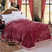 Wedding Gift Bedding Blanket Solid Bean Paste Color Thick Soft Warm Faux Fur Mink Blanket Double