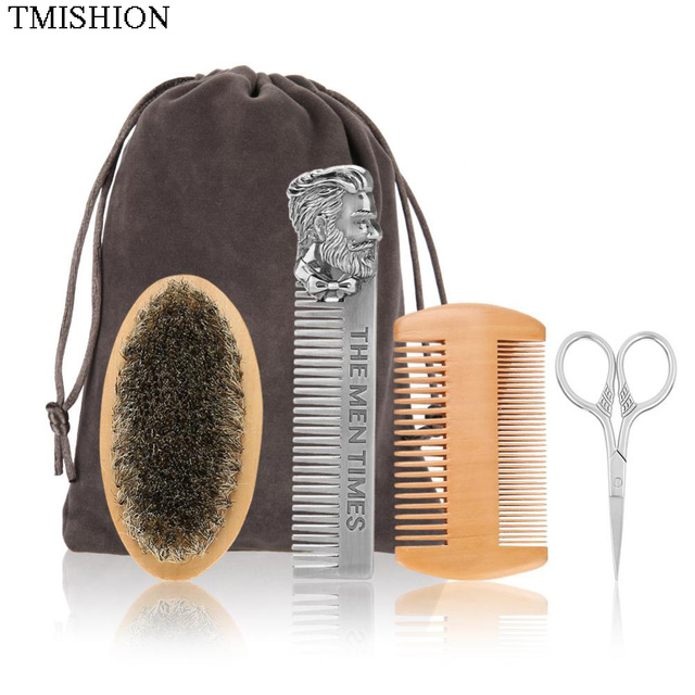 TMISHION Men Moustache Brush Kit with Moustache Comb Scissor Storage Bag Repair Beard Modeling Cleaning Care Kit