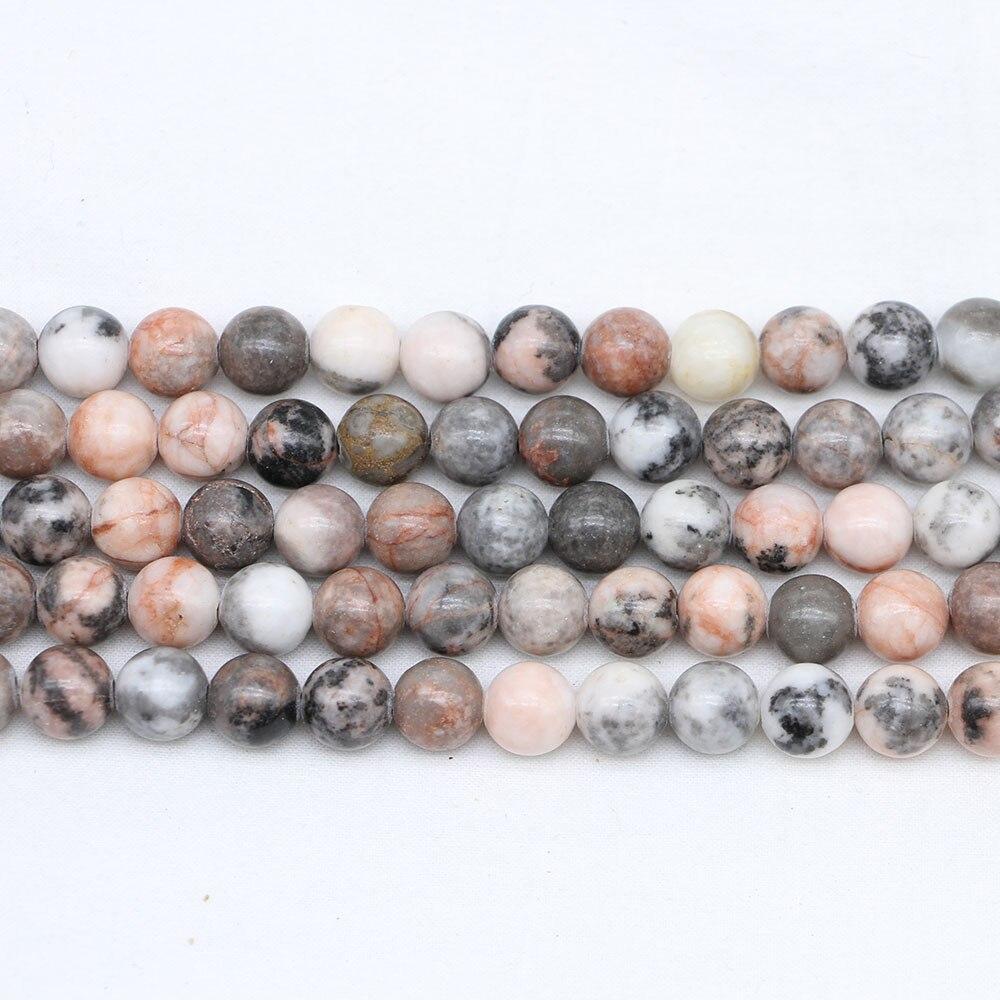 d792717e2165 1 hebra/lote 4/6/8/10mm Natural Rosa cebra cuenta piedra Jaspers cuenta  suelta cuentas espaciadoras para hacer joyería hallazgos DIY pulsera