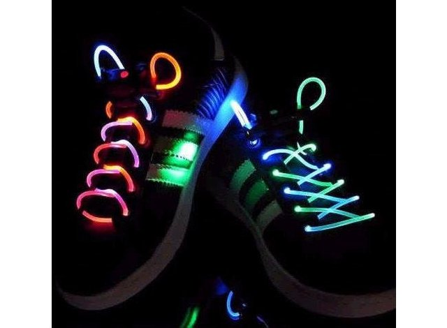 Creative Dazzle Colour LED Platube Laces New Shoe-Lace Magically Lighting the Night/Orange/Blue + Free Shipping + 10 pcs/lot