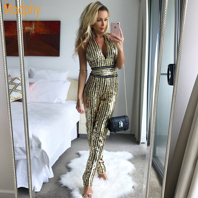 2018 women sexy deep v busty luxury all sequined cover backless halter party  bandage jumpsuit dropshipping wholesale HL908 5d0f3a2ae2b6