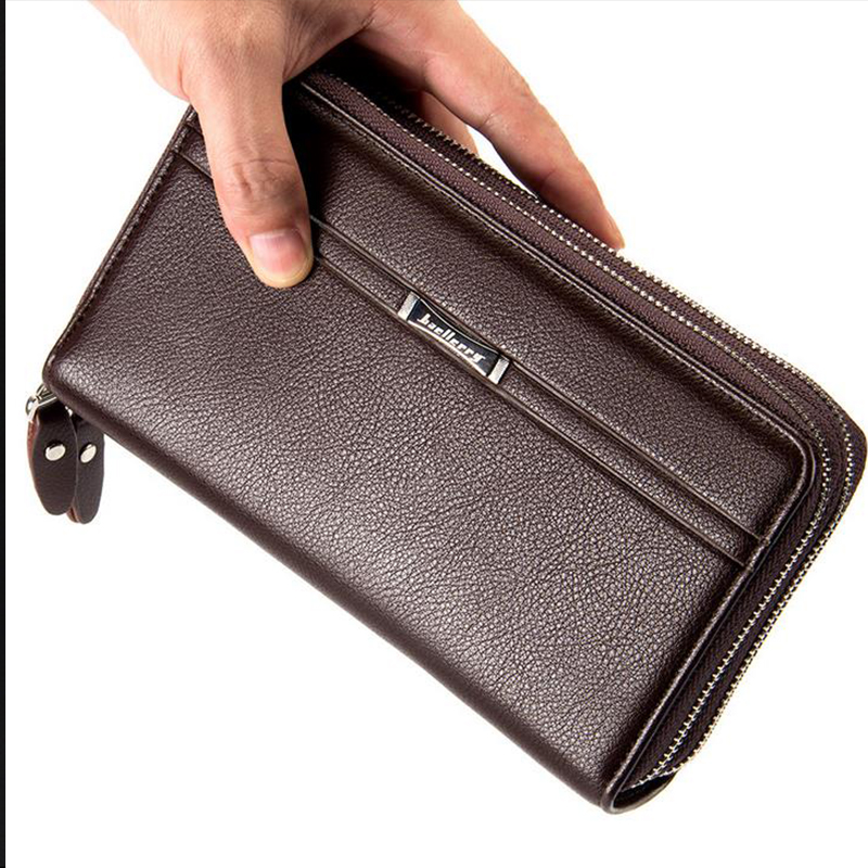 New Arrival Men PU Two Zipper Wallet Multifunctional Purse Huge Capacity Long Style Closure Money Bag More Card Slots For Busin