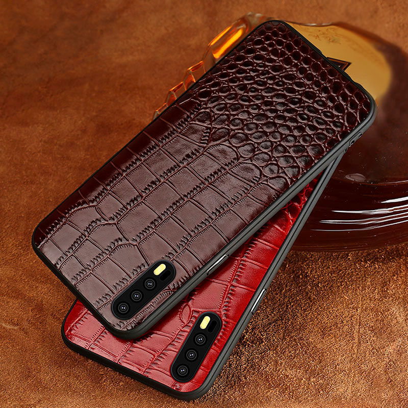 Luxury Phone Case For Huawei Mate 20 Pro 10 9 P20 Lite P10 Nova 3 3i Crocodile Texture Original Cowhide Honor 8X Max Cover in Fitted Cases from Cellphones Telecommunications
