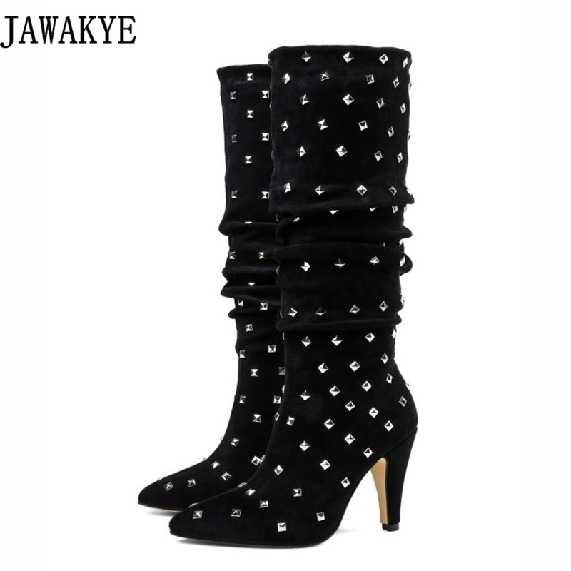 Metal rivets full studded knee high boots women  Pointed Toe spiked high heels runway winter warm shoes 2018 bota femininaMetal rivets full studded knee high boots women  Pointed Toe spiked high heels runway winter warm shoes 2018 bota feminina