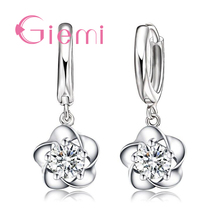 Купить с кэшбэком Romantic Sweet Flower Shape  Earring For Women 925 Sterling Silver Jewelry Shiny CZ Stone  Wedding Birthday Party Gifts