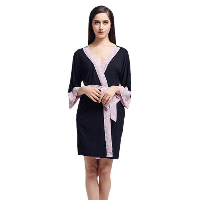 Sexy Robe Sleepwear Dressing-Gown SNOWINSRPING Fashion Women with Waistband Hot-Sale