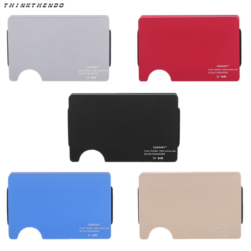 THINKTHENDO Fashion Men Women Metal ID Credit Card Holder Fashion RFID Protector Aluminum Wallet Card Case High Quality 5 Colors