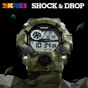 SKMEI Outdoor Sport Watch Men Alarm Clock 5Bar Waterproof Military Watches LED Display Shock Digital Watch Reloj Hombre 2019