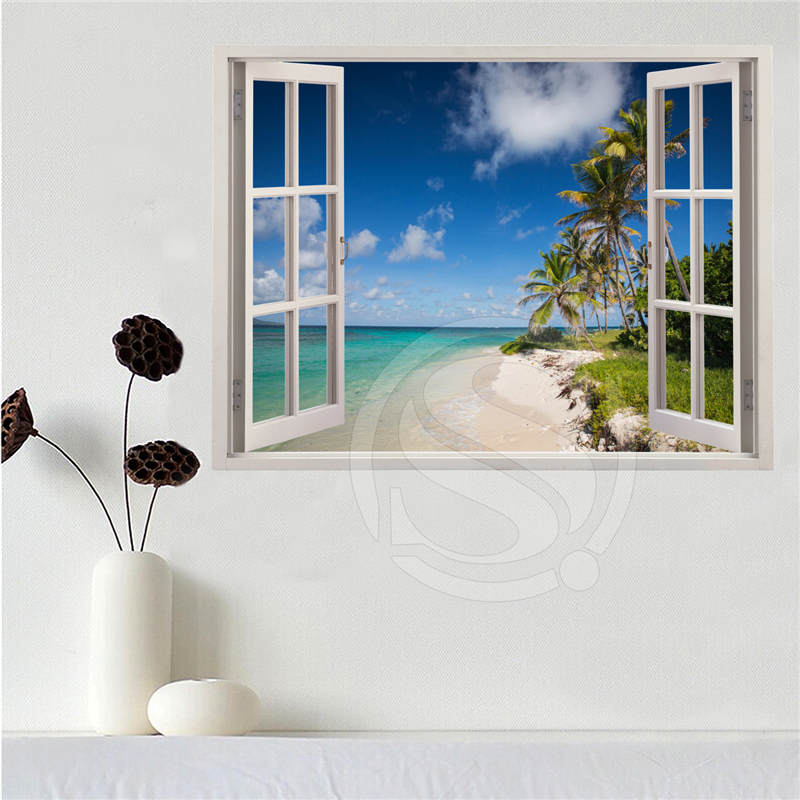 Custom canvas poster Beach of the Caribbean in the window poster cloth fabric wall poster print Silk Fabric Print SQ0611