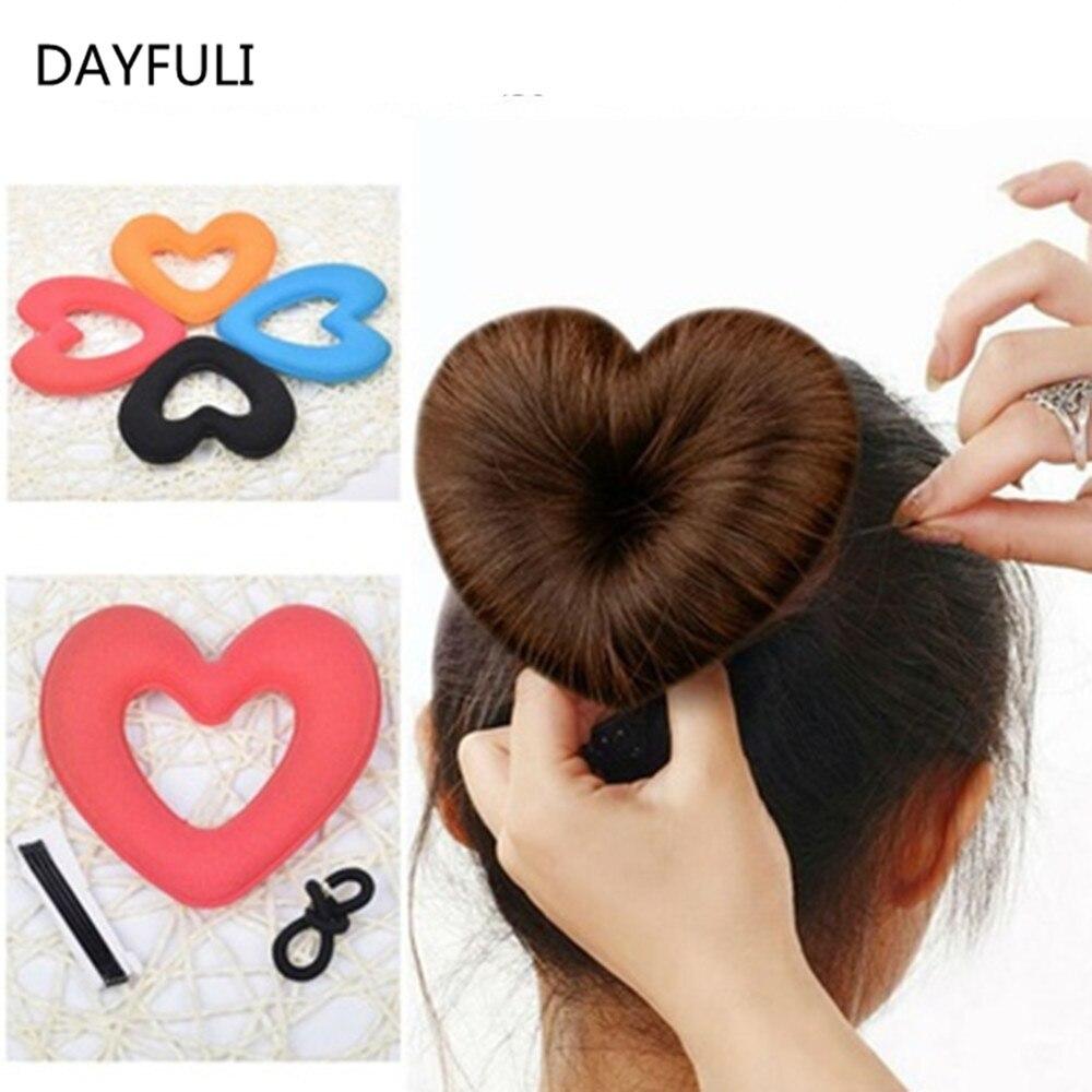 TOPHOT 1PC Hair Donut Bun Heart MakerHot Magic Foam Sponge Headwear - Penjagaan rambut dan penggayaan