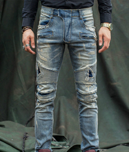 High Quality Biker Jeans Mens Slim Elastic Skinny Straight Regular Mens Jeans With Holes Ripped Patch