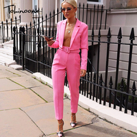 Tobinoone Long Sleeve Jacket And Pants Two Piece Set Nightclub Sexy 2 Piece Set Women Set With Belt Ladies Fashion Outfits 2019